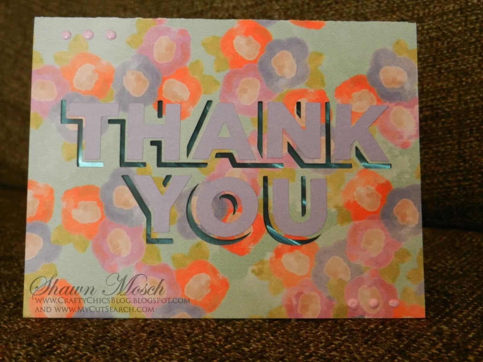 Thank you card Cricut