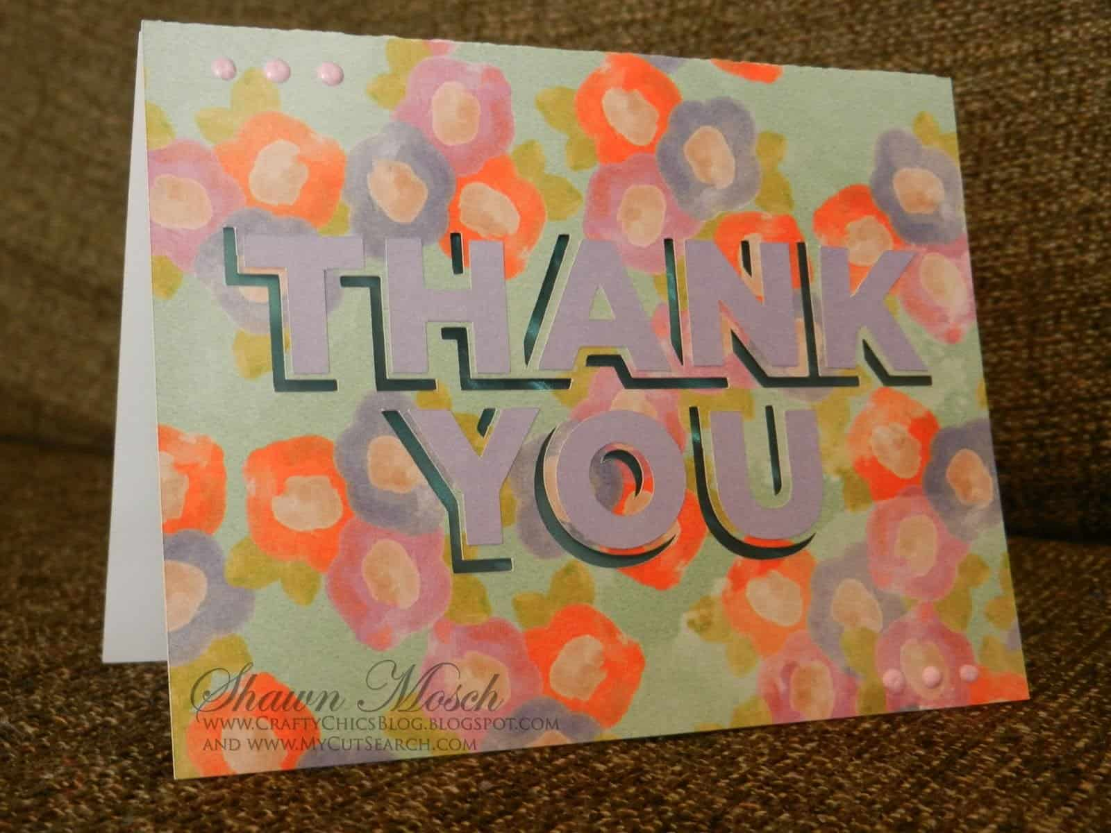Thank you card Cricut