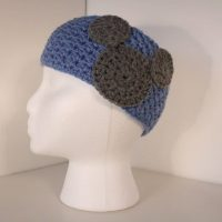 light blue crocheted headband