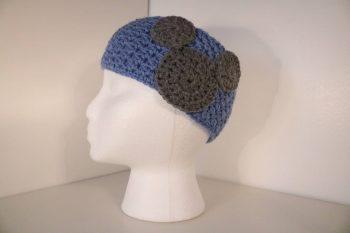 light blue crocheted headband