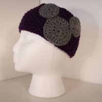 deep purple crocheted headband