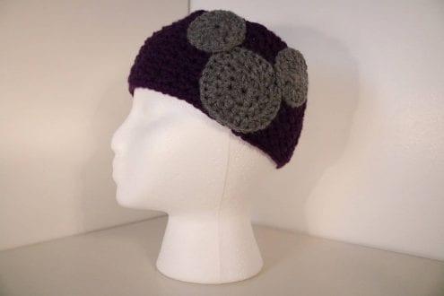 deep purple crocheted headband