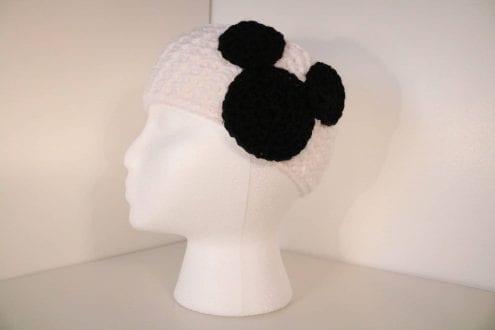 white crocheted headband