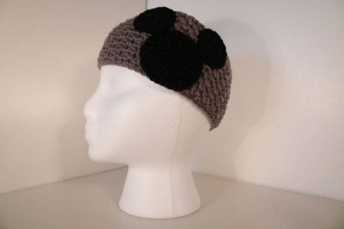 Gray crocheted headband