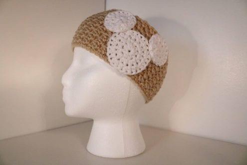 Cream crocheted headband