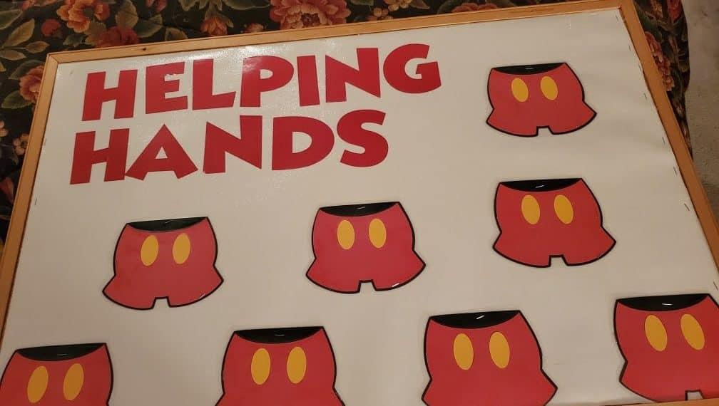 Disney Helping Hands classroom job chart