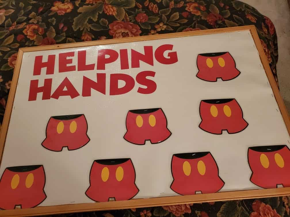 Disney Helping Hands classroom job chart