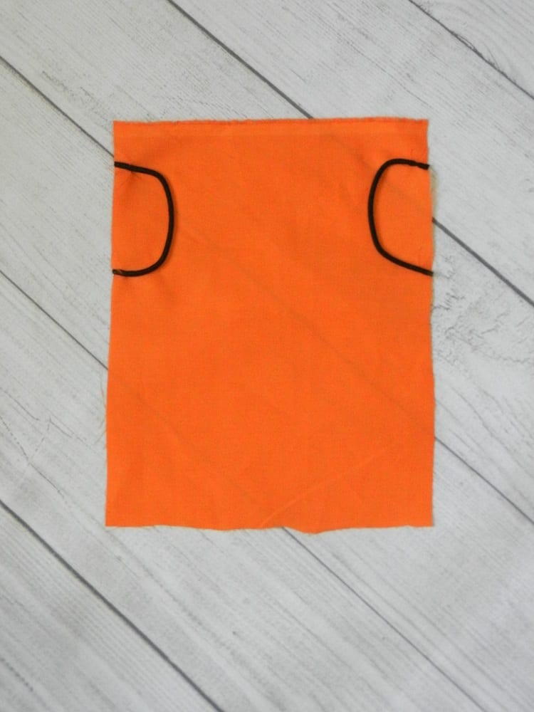fabric Halloween face mask with hair ties