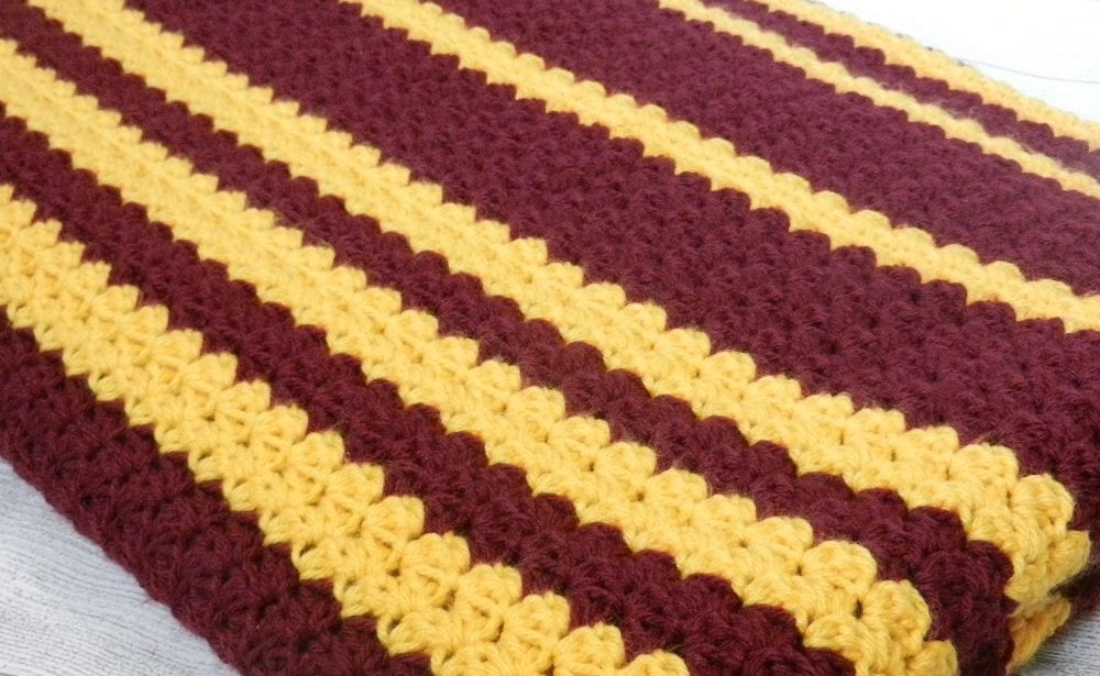 team colors hand crocheted blanket