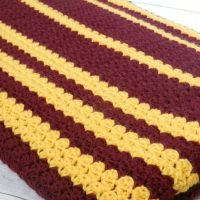 USC University of Minnesota team colors crocheted blanket
