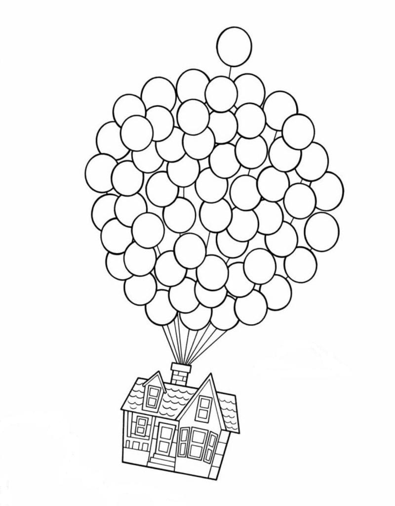 UP house coloring book page