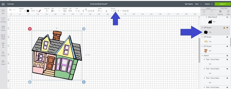 position in Cricut Design Space