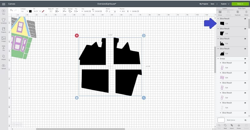 slice for extra large images with Cricut larger than mat