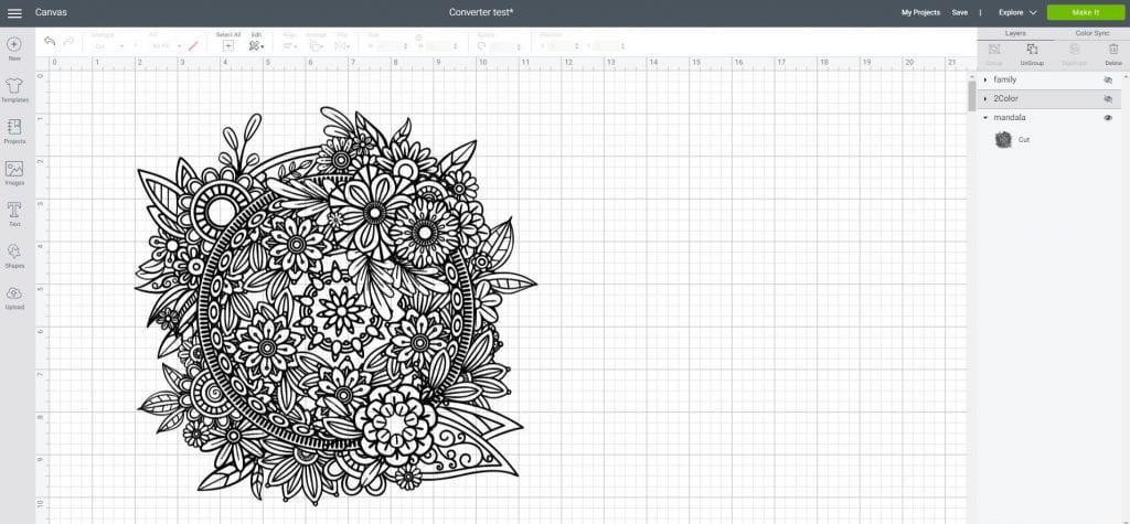 Mandala SVG in Cricut Design Space