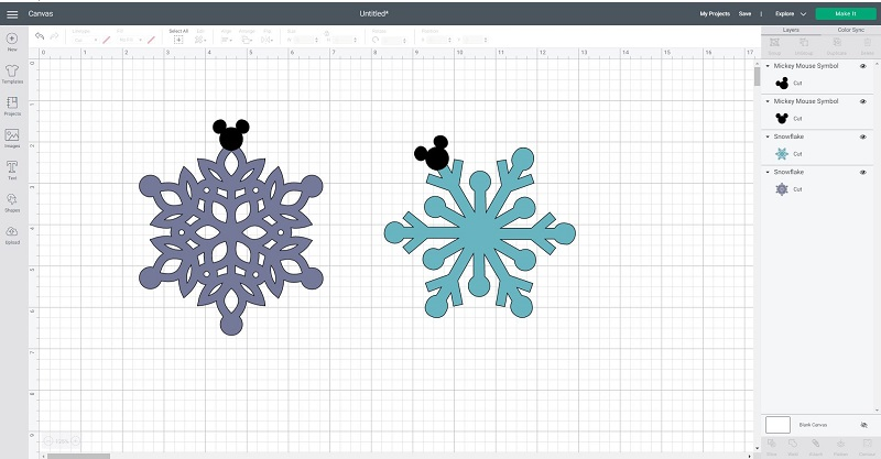 mickey Mouse snowflakes