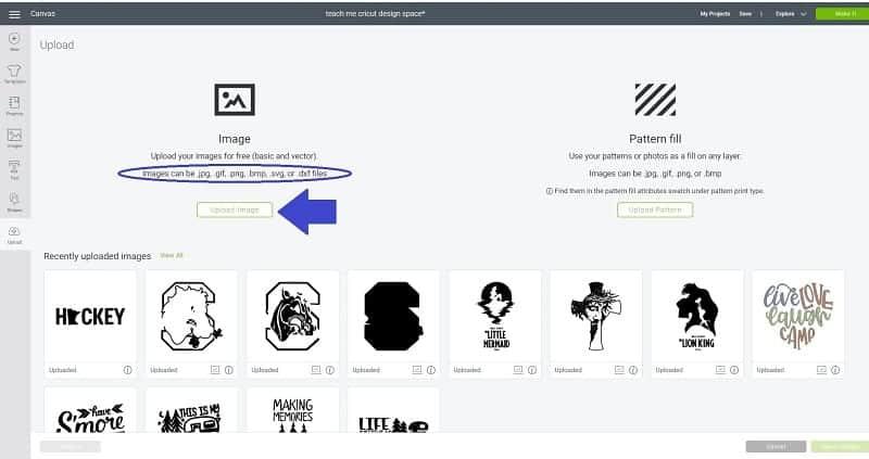 upload screen Cricut Design Space