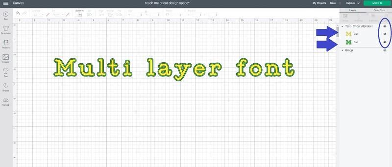 Free Cricut font multi layer font offset shadow outline