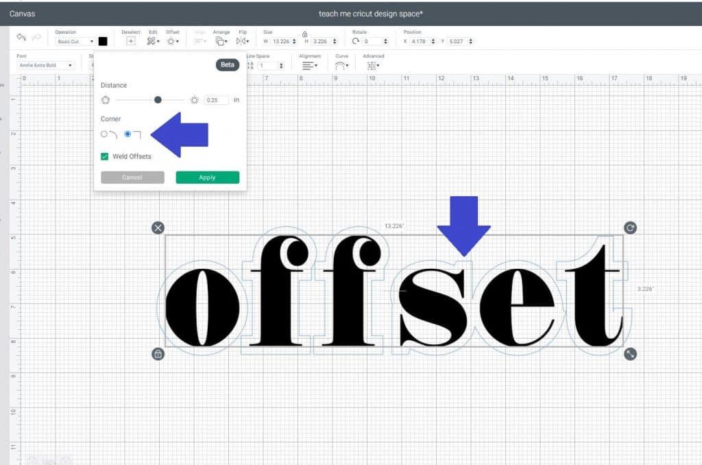 offset in Cricut Design Space