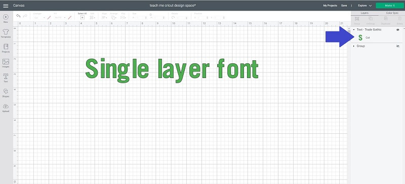 Free Cricut font single layer