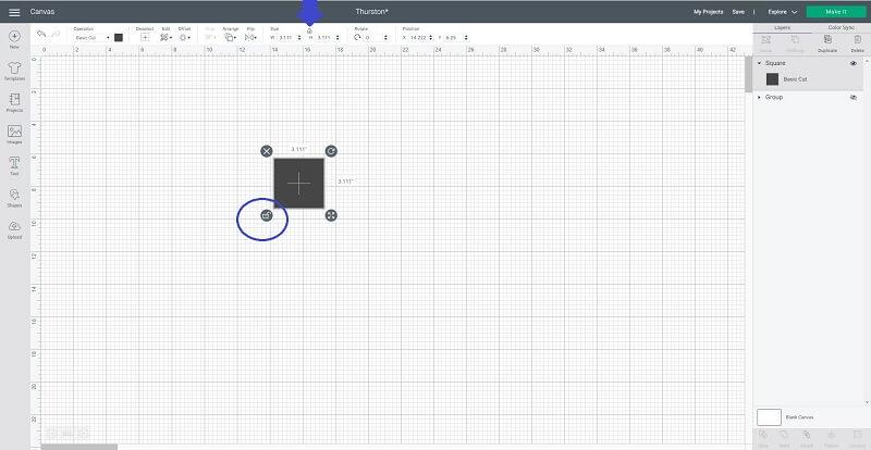 Cricut unlock square for a rectangle